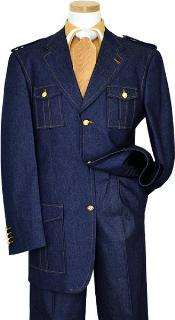Blue Denim Iridescent Suit With Cognac Hand-Pick Stitching And Shoulder Epaulettes