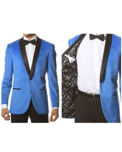 Shawl Collar Dinner Smoking Velour Jacket Notch Lapel Slim Fit Turquoise