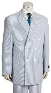 Mens Blue Double Breasted Style seersucker ~ sear sucker Suits