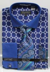 Avanti Uomo Printed Pattern French Cuff Blue Mens Dress Shirt