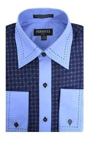 Blue/Royal Microfiber Design Geometric Regular Fit Dress Shirt