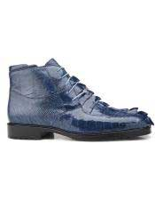 Authentic Genuine Skin Italian Mens Leather Lining Lace Up Blue Jean Shoes