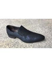 Mens Blue Tiger pattern Genuine Suede Soft Genuine leather Slip-On Stylish Dress