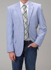 Summer Light Wright Sport coat Blue Seersucker Sear sucker suit Blazer