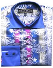 Fancy Shirts Blue/White (100% Polyester) Flashy Shiny Satin Silky Touch