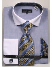 100% Cotton Fashion Blue Shirt with Tie & Hanky Set