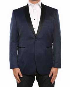 Mens Blue Textured Tuxedo Shawl Collar Slim Fit Blazer