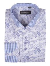 Blue Floral Pattern Cotton Blend Classic Fit Standard Cuff Shirt