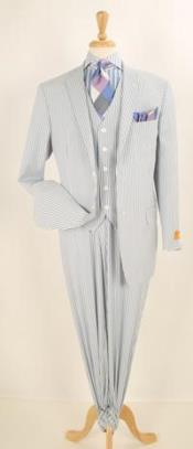 Mens Three Piece Suit - Vested Suit Mens 3 pc Blue Seersucker