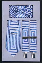 Mens Suspender Tie Bow Tie ~ Bowtie and Hanky Set Light