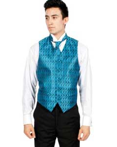 Blue/ Black Ripple Vest Bowtie Necktie and Handkerchief Set Also available in Big and Tall Sizes