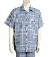 Piece Windowpane Blue Collar