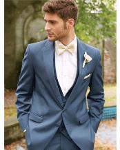 Slim Fit Blue Notch Lapel 2 Button Wool Blend Allure Vested