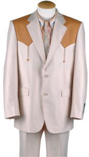 Western cowboy suit traje vaquero Polyester Suit Set (Bone/Mango Ostrich)