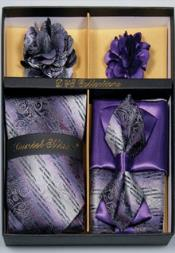 Daniel Ellissa Swirl Pattern Neck Tie/Bow Tie Set Purple/Black/White