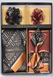 Daniel Ellissa Tribal Pattern Neck Tie/Bow Tie Set Coal Black/Hazel Brown