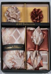 Daniel Ellissa Square Pattern with Floral Neck Tie/Bow Tie Set Coffee