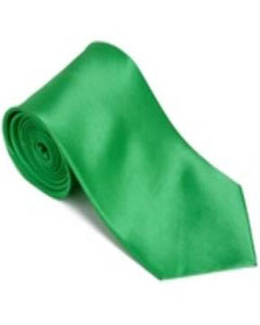 Brightgreen 100% Silk Solid Necktie With Handkerchief