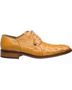 Mens Fashion Design Lace Up Camel Derby Hornback World Best Alligator ~ Gator Skin Shoes