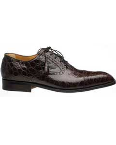 Chocolate Mens Cap Toe Lace Up Italian Style World Best Alligator