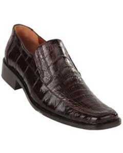 Brown Caiman Belly Split Toe loafer slip on Mens shoe Shoes