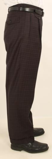 Wide Leg Single Pleated Pants Navy W/Coco Brown Check Mens Wide