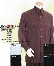 Set Casual Suit in Brown or Black or Grey or Dark Navy or White including Matching Wide