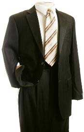 Mens Suit Brown Pinstripe Designer affordable Cheap Priced Business Suits Clearance Sale