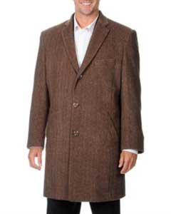 Pronto Moda Mens Dress Coat Mens Car Coat Ram Light Brown Herringbone