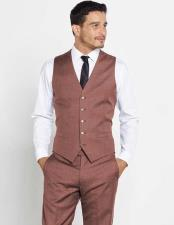 Brown 5 Button Vest + Matching Dress Pants Set + Any Color Shirt & Tie