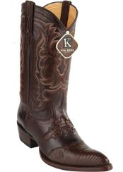 J Toe Style King Exotic Teju Lizard Brown Western Boot With