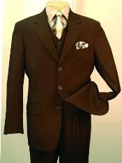 Fashion three piece suit in Super 150s Luxurious Wool Feel Brown