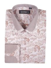 Brown Cotton Blend Classic Fit Floral Pattern Standard Cuff Shirt