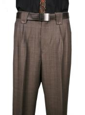 Classic Fit Pleated Front classy Wide Leg Cut Dress Pants Brown