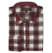Brown Long Sleeve Plaids And Checks Pattern Mens Dress Shirt