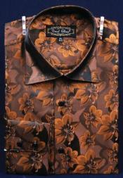 Polyester Dress Fashion Shirt With Button Cuff Brown