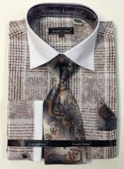 Avanti Uomo Cotton French Cuff Dress Shirt Set Brown White Collar Two Toned Contrast