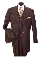 Mens Vested 3 Piece Bold Chalk Gangster Pinstripe ~ Stripe Peak Lapel Brown