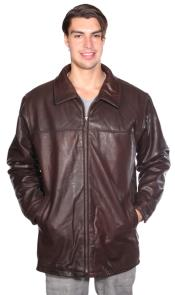 Zip Front Lamb Coat w/ Thinsulate™ Zip-out Liner Brown