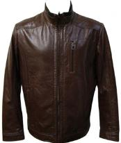 Brown Racing Lamb Genuine Leather Jacket Available in Big and Tall
