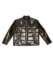 - 2910 Quilted Lambskin/Stingray Brown Zipper Closure Jacket