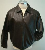 Genuine Leather Bomber Jacket And Bottom Elastic Waist Brown