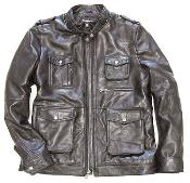 Military Field Inspired Lambskin Brown Genuine Leather Jacket - Zip Front