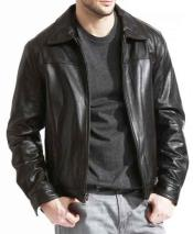 Pebble Grain Lambskin Genuine Leather Brown Front Zipper Closure Jacket