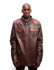 Mens Brown Button closure Leather Shirt with Aligator Trimming