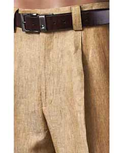 Mens Pleated Summer Brown 100% Linen Pant
