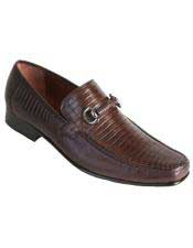 Altos Mens Stylish Brown Exotic Teju Lizard Skin Slip-on Casual Dress