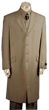 Mens Dual Stripe Brown Long Zoot Suit