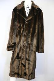 Faux Bear Pelt Button Brown Notched Lapel Long Zoot Suit