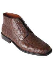 Genuine Ostrich Brown Ankle